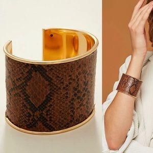 faux leather snake print wide cuff bracelet
